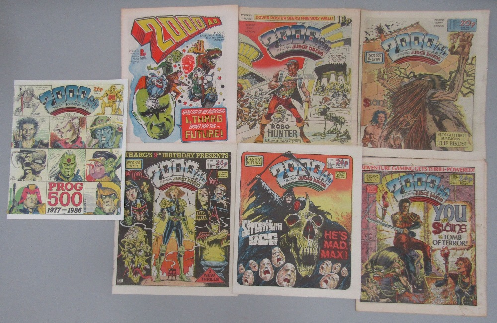 Lot 778 - An extensive collection of 2000 AD comics including early 1977 edition, and a 1986 souvenir edition,