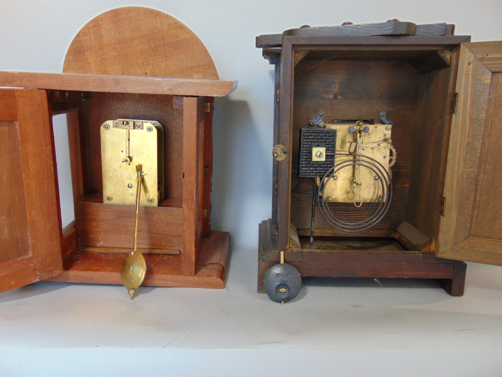 Lot 408 - Westminster chime style three train mantle clock with three others (4)