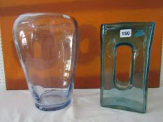 Two Whitefriars type vases, one in turquoise colourway, of rectangular form with oval recess to