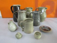 Probably Leach of St Ives - A collection of mainly celadon glazed studio pottery comprising five
