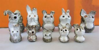 Briglin Pottery - A collection of novelty studio pottery money boxes and figures in the form of