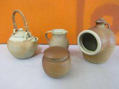 Probably Ray Finch for Winchcombe Pottery - Four terracotta studio pieces with salt glaze highlights