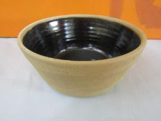 Possibly by Bernard Leach - St Ives Pottery fruit or dairy bowl, with brown glazed interior, 30cm
