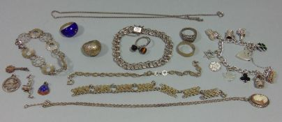 Collection of silver jewellery to include a curb link charm bracelet with heart padlock clasp,
