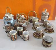 Briglin Pottery - Large collection of various studio pottery teawares comprising a complete four