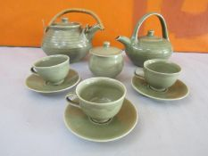 Harry Davis & May for Crowan Pottery part tea service comprising teapot, lidded sucrier, three