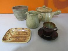 Probably by Michael Leach for Yelland Pottery - Collection of studio pottery to include plant pot,