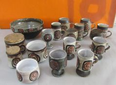 Briglin Pottery - A large collection of studio pottery comprising fruit bowls, preserve pots,