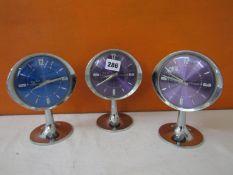 Three Westclox Big Ben repeater alarm clocks upon tulip bases (3)