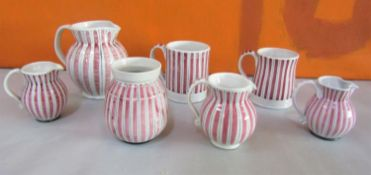 Rye design team for Rye pottery cottage stripe collection comprising four jugs, two mugs and a