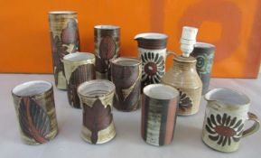 Briglin Pottery - A collection of studio pottery cylindrical vases of various sizes, together with