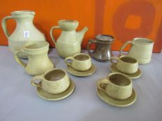 The Friars of Aylesford stoneware studio pottery collection comprising part tea service, three