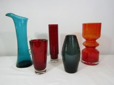 Whitefriars - Four coloured glass vases and a jug of various designs, the jug 35cm high (5)