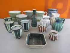 Rye Pottery - A collection of studio pottery wares with incised and drip ware decoration, to include