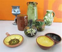 A collection of Devon Pottery to include Baron of Barnstaple olive glaze three handled vase,