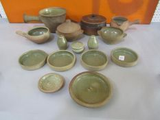 A collection of Leach type St Ives Pottery celadon glazed cookware comprising two twin handled bowls