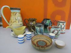 A collection of vintage ceramics and pottery to include Denby, Cornishware, Titan ware and others (