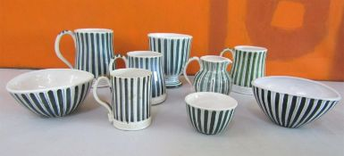 Rye Design Team for Rye Pottery collection of stripe pottery comprising four mugs, two finger bowls,