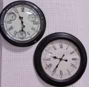 Two similar large modern wall clocks, one with world time subsidiary dials, 50 cm diameter (2)