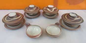 Harry Davis & May for Crowan pottery - Four salt glaze lidded rice bowls on saucers with two further