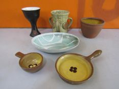 Collection of local interest pottery comprising three pieces of Bath pottery to include two single