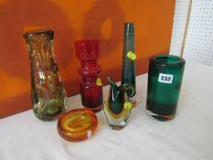 Collection of Whitefriars and other glassware, comprising citrine glass vase, a green glass vase,