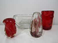 Whitefriars - Four lobed moulded pieces of glass to include two red vases, a clear glass oval vase