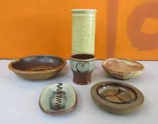 Margaret Leach - Collection of studio pottery to include five slip ware dishes (one af) and a