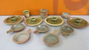 Probably John Leach for Mulcheleny Pottery - Collection of salt glaze studio pottery table wares
