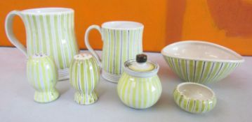 Rye Design Team for Rye Pottery - Collection of striped pottery comprising two mugs, three piece