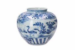 A blue and white porcelain jar, decorated with ducks, peaches and flowers. Unmarked. China, Wanli.