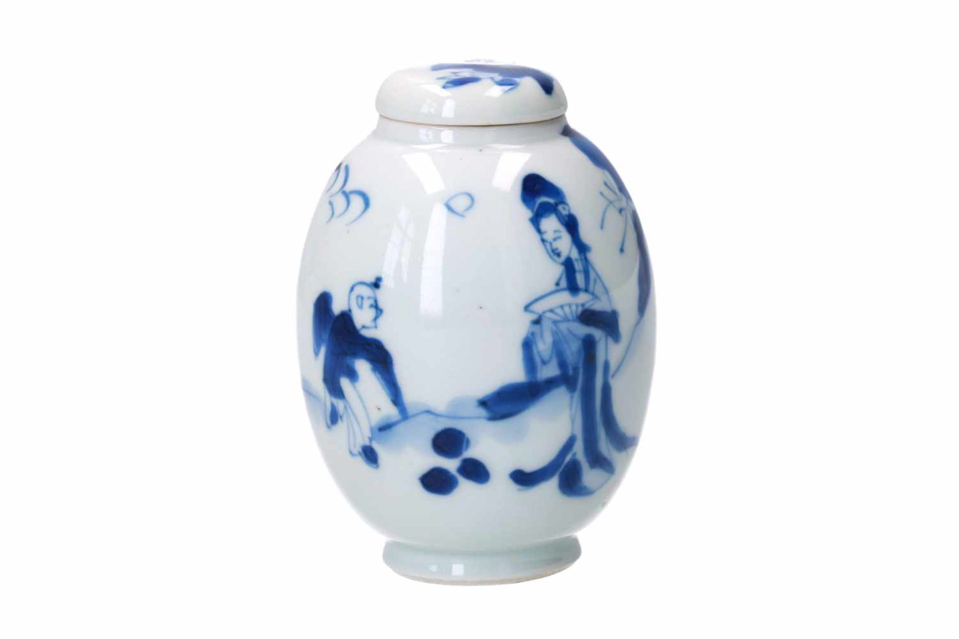 A blue and white porcelain lidded jar, decorated with a little boy and long Eliza in a landscape.