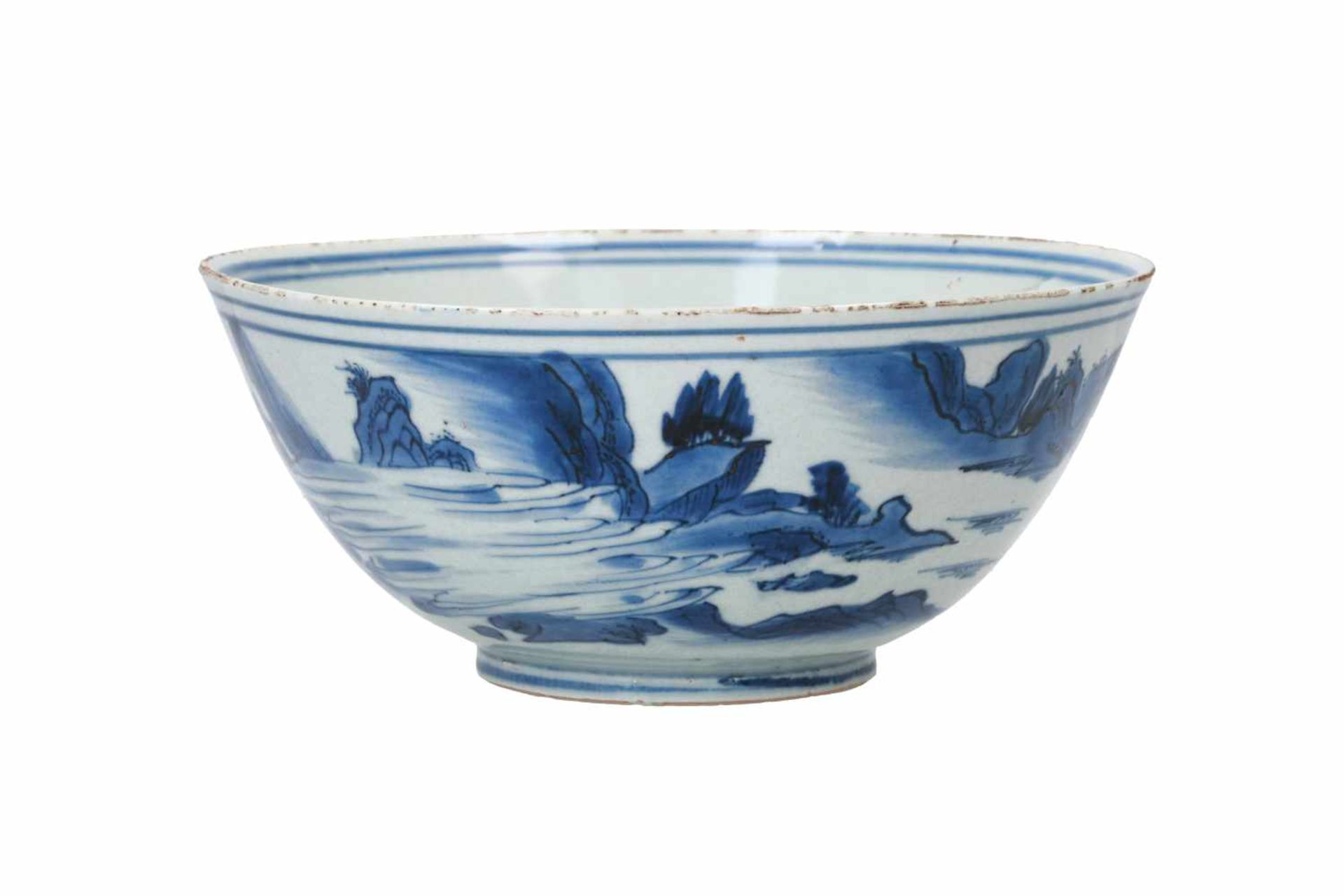 A blue and white porcelain bowl, decorated with a past-master in a mountainous river landscape. - Bild 3 aus 6