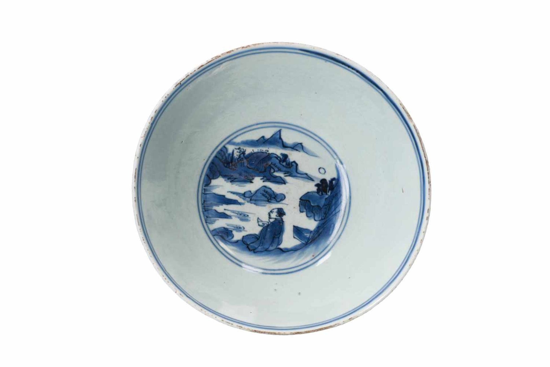 A blue and white porcelain bowl, decorated with a past-master in a mountainous river landscape. - Bild 5 aus 6