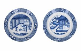Lot of two blue and white porcelain dishes, decorated with ladies at a court. Marked with 6-