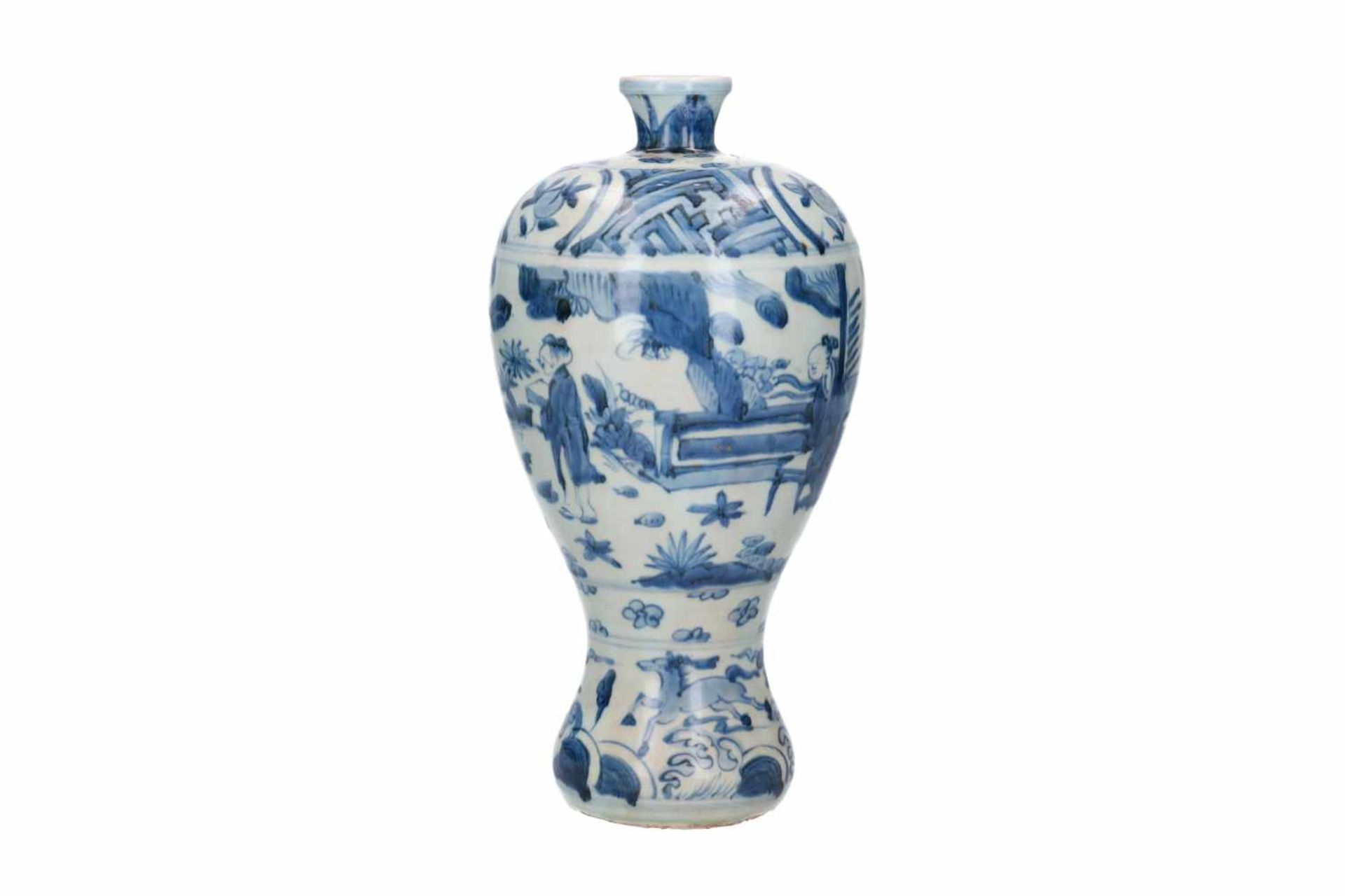 A blue and white porcelain Meiping vase, decorated with figures, horses and fruits. Unmarked. China, - Bild 2 aus 6