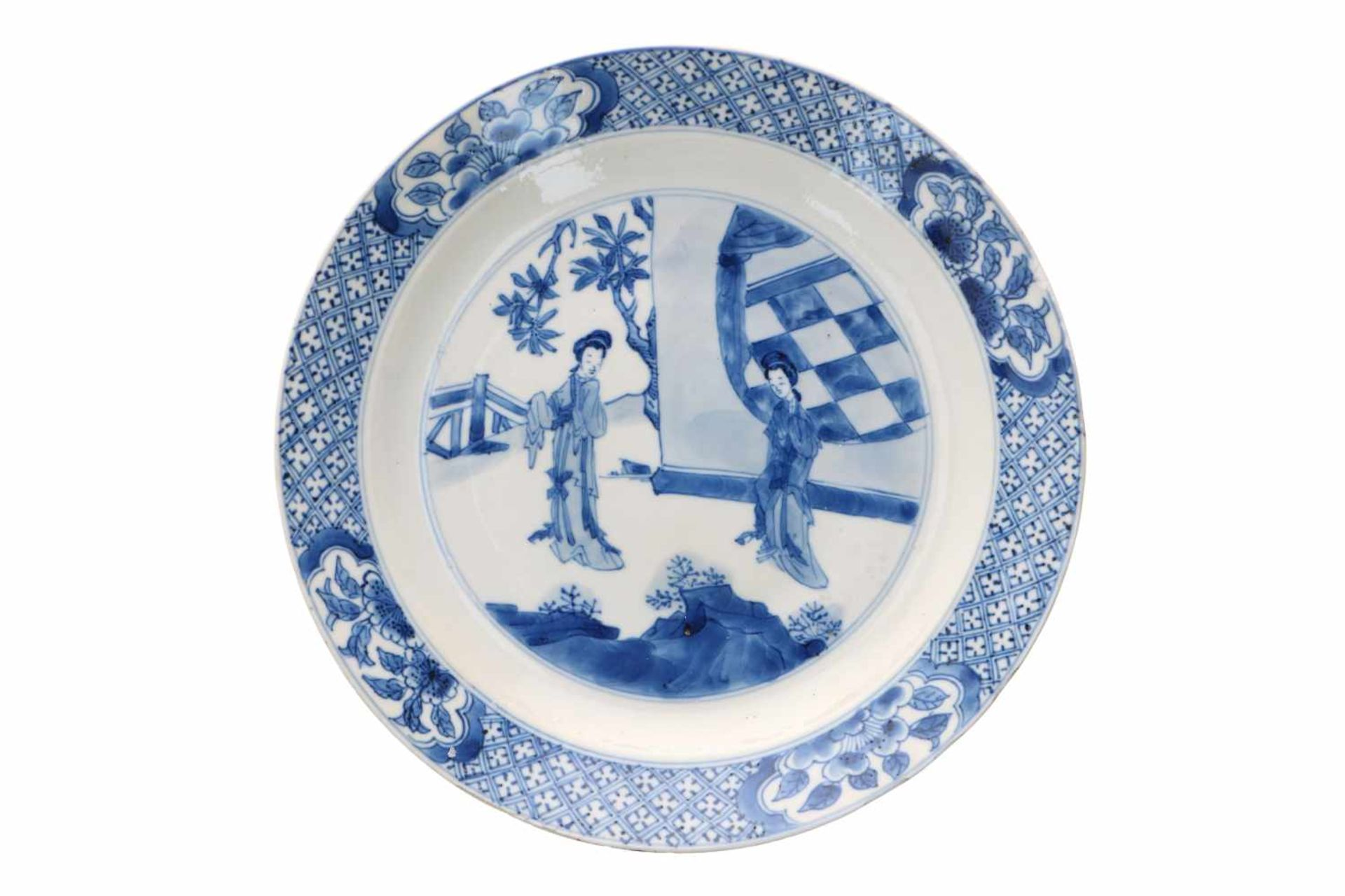Lot of two blue and white porcelain dishes, decorated with long Elizas. Marked with 6-character - Bild 3 aus 7