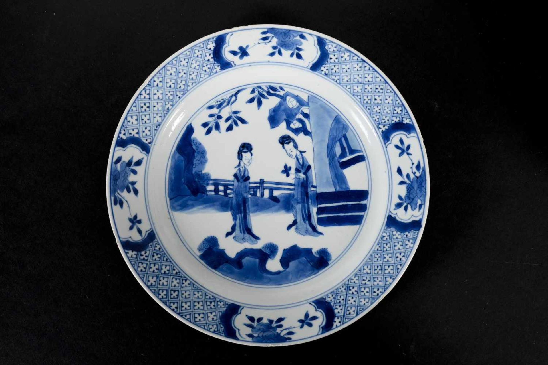 Lot of two blue and white porcelain dishes, decorated with long Elizas. Marked with 6-character - Bild 6 aus 7