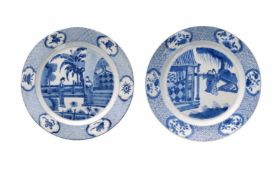 A pair of blue and white porcelain dishes, decorated with figures on a terrace and censers. Marked