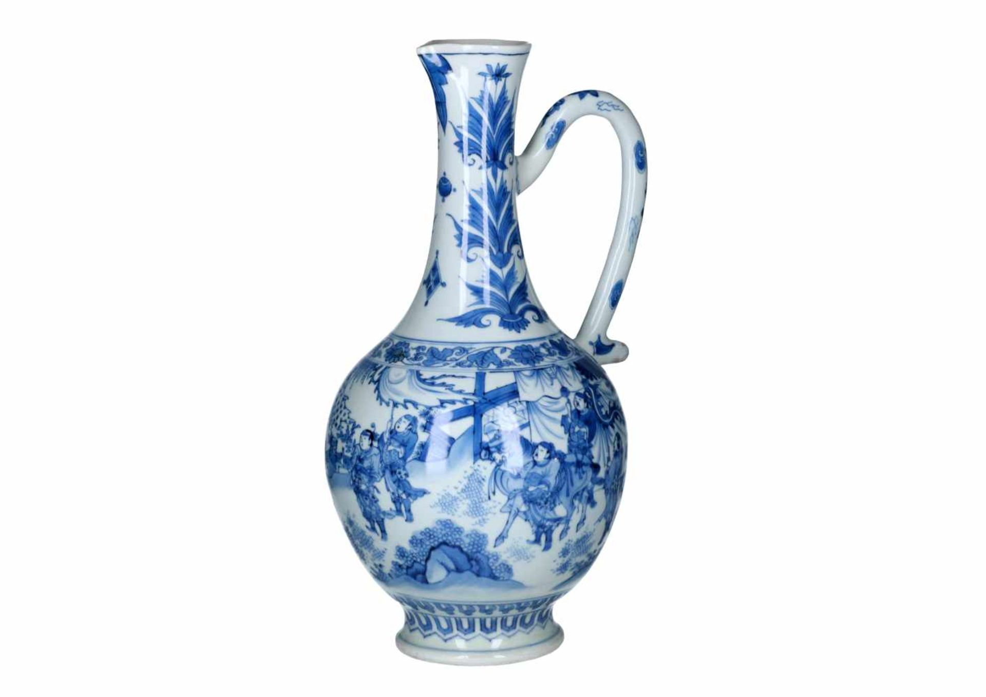 A blue and white porcelain jug, decorated with figures, a river landscape and flowers. Unmarked.