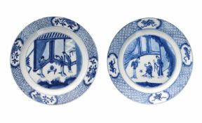 Two blue and white porcelain dishes, decorated with long Elizas in interior. Marked with 6-character