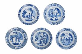 Lot of five blue and white porcelain dishes, decorated with long Elizas in a garden. Marked.