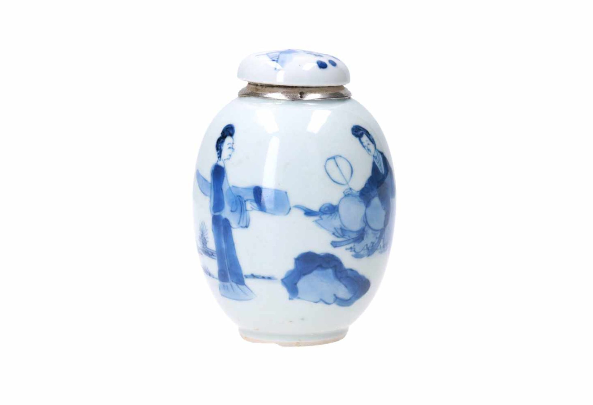 A blue and white porcelain lidded jar with later Dutch silver mounting, decorated with figures in