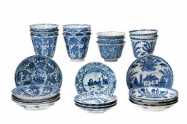 Lot of diverse blue and white porcelain objects, 1) set of six cups with five saucers, decorated