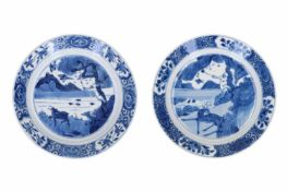 Lot of two blue and white porcelain saucers, decorated with a monkey and a deer. One marked with 6-