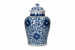 A blue and white porcelain lidded jar, decorated with lotus flowers. Unmarked. China, Kangxi.