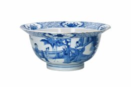 A blue and white porcelain 'klapmuts' bowl, decorated with scenes of the Romance of the Western