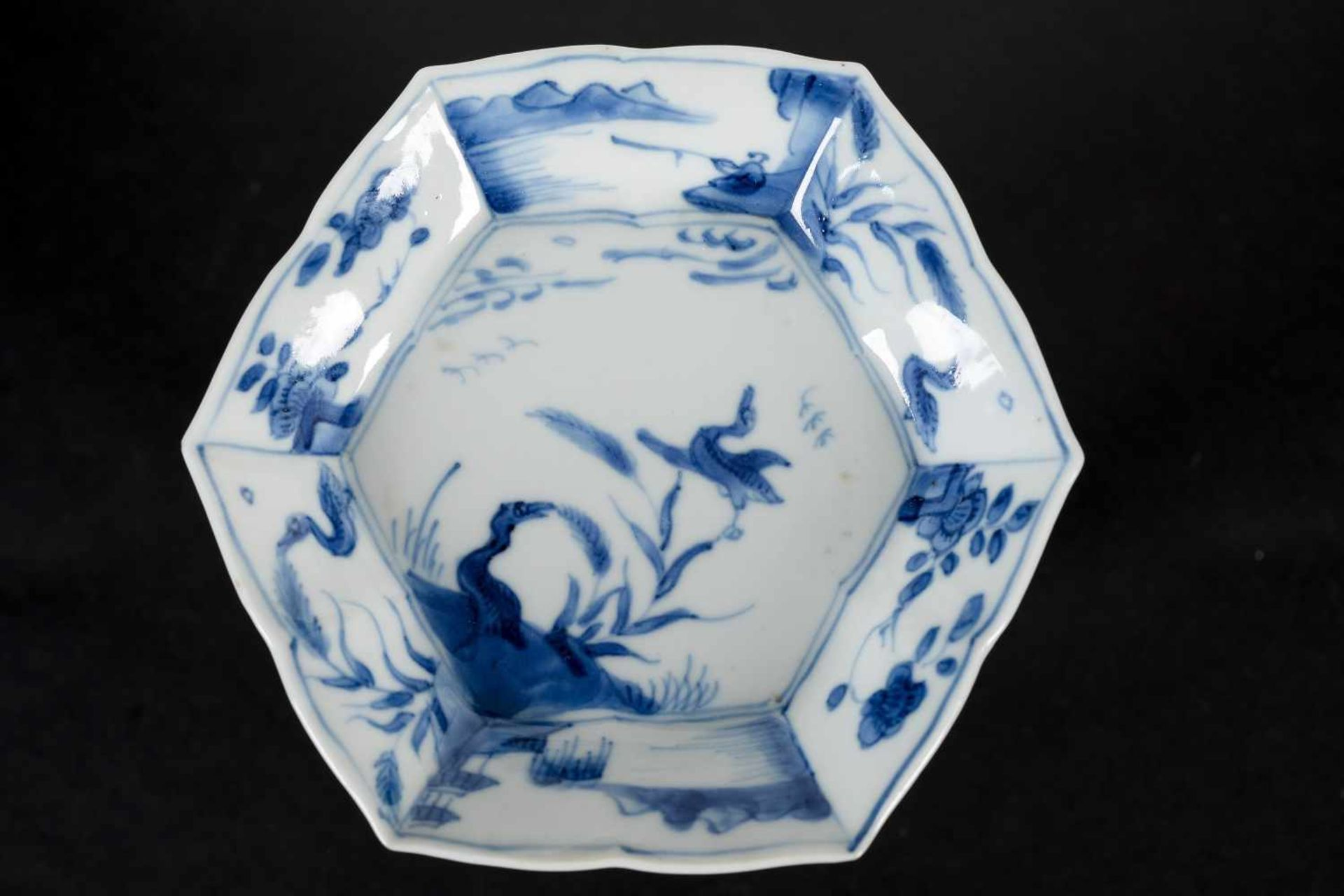 A set of three hexagonal blue and white porcelain cups with saucers, decorated with ducks, flowers - Bild 7 aus 12