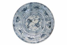 A blue and white porcelain deep charger, decorated with dragons and flowers. Unmarked. China,