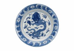 A blue and white porcelain deep saucer, decorated with a dragon with burning pearl, censers and